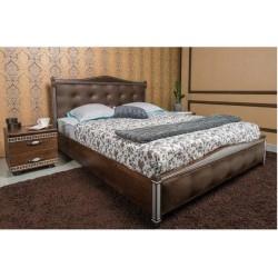 Кровать Прованс с патиной и фрезеровкой мягкая спинка квадраты