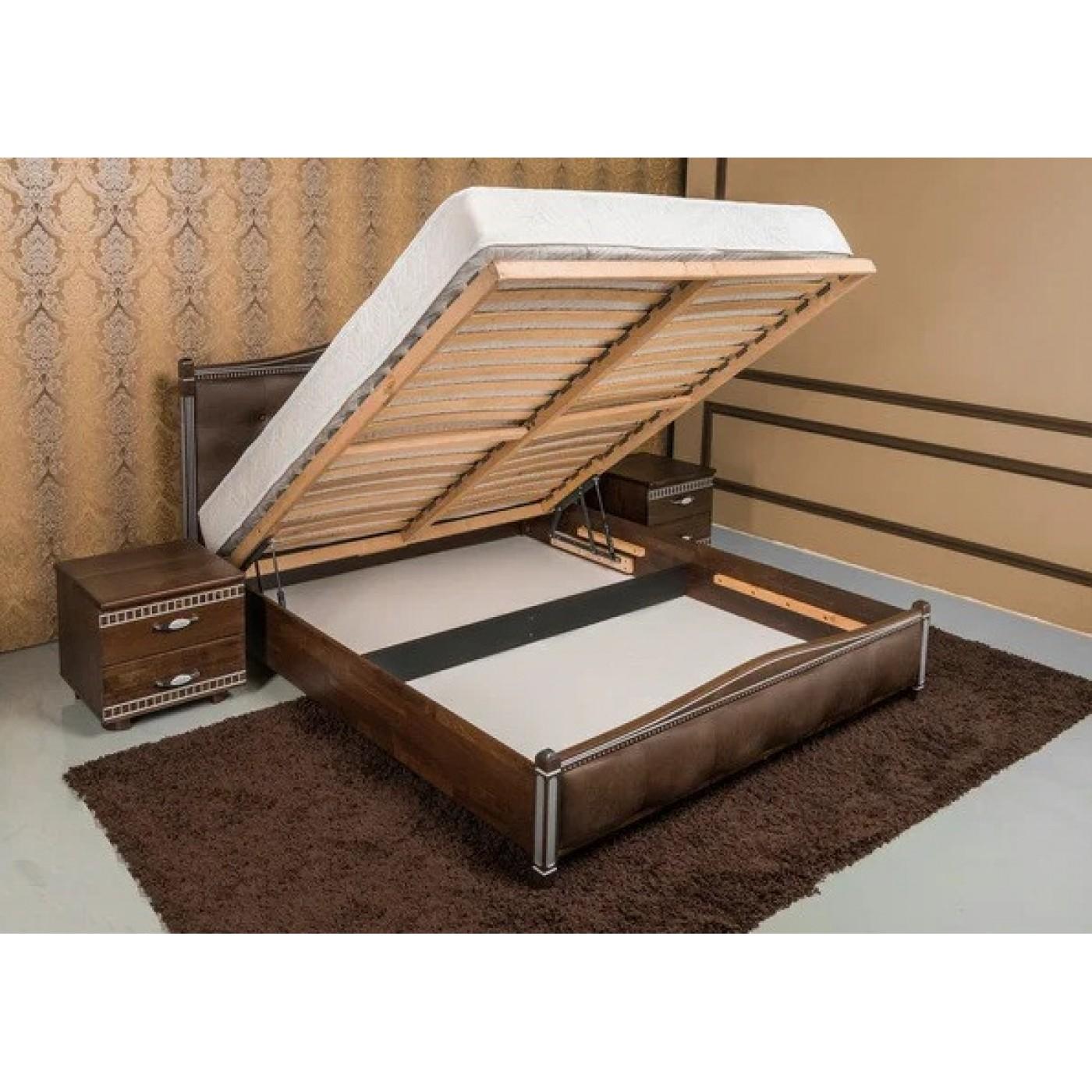Кровать Прованс с патиной и фрезеровкой мягкая спинка квадраты с механизмом