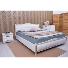Кровать Прованс с патиной и фрезеровкой мягкая спинка ромбы
