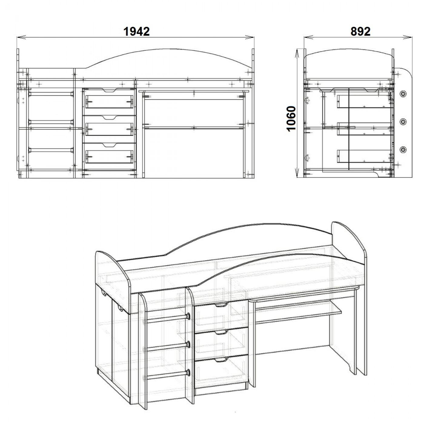 Универсал кровать чердак